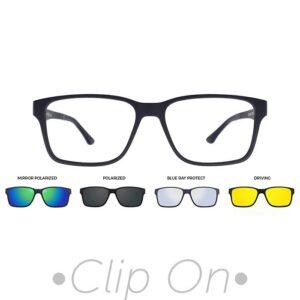 rama ochelari clip on U-225 C04M 54-16 BLUE barbati