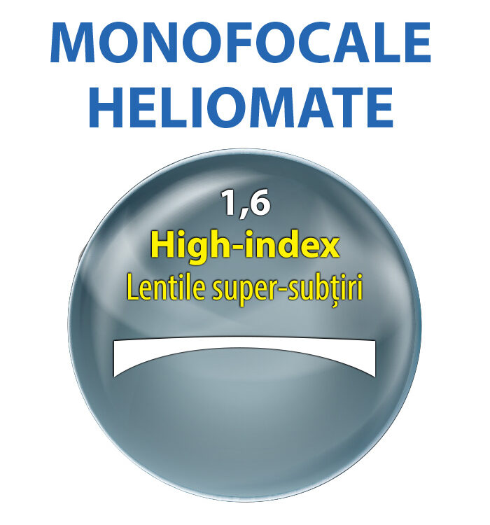 lentile MONOFOCALE heliomate index 1,6; lentile de vedere 16; lentile heliomate; lentile de plastic; lentile aeriene; lentile normale